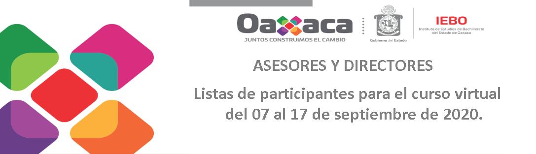 Listas de participantes para el curso virtual del 07 al 17 de septiembre de 2020