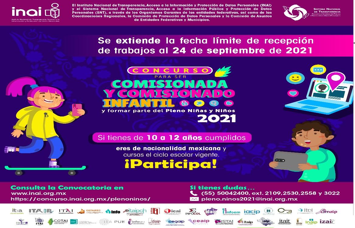 CONCURSO PARA SER COMISIONADA Y COMISIONADO INFANTIL Y FORMAR PARTE DEL PLENO NIÑAS Y NIÑOS 2021
